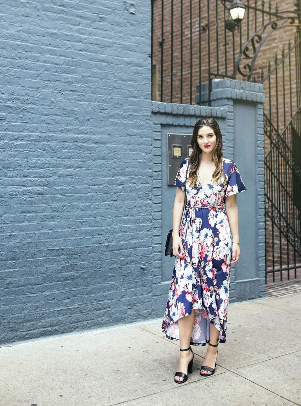 Long Floral Wrap Dress West Kei Louboutins & Love Fashion Blog Esther Santer NYC Street Style Blogger Outfit OOTD Trendy Henri Bendel Amare Jewels Ivanka Trump Black Klover Sandals Floral Dress Chic Woman Red Lip Pink Hair Brown Wavey Purple Dress .jpg