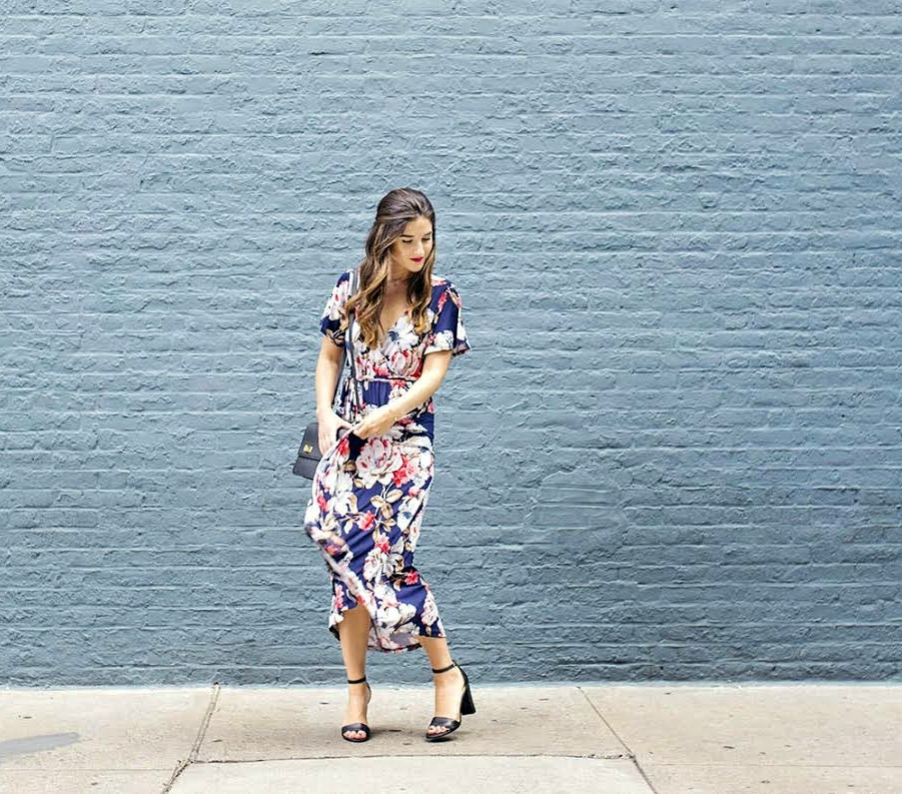 Long Floral Wrap Dress West Kei Louboutins & Love Fashion Blog Esther Santer NYC Street Style Blogger Outfit OOTD Trendy Henri Bendel Amare Jewels Ivanka Trump Black Klover Sandals Floral Dress Chic Woman Red Pink Lip Hair Brown Wavey Purple Dress.jpg