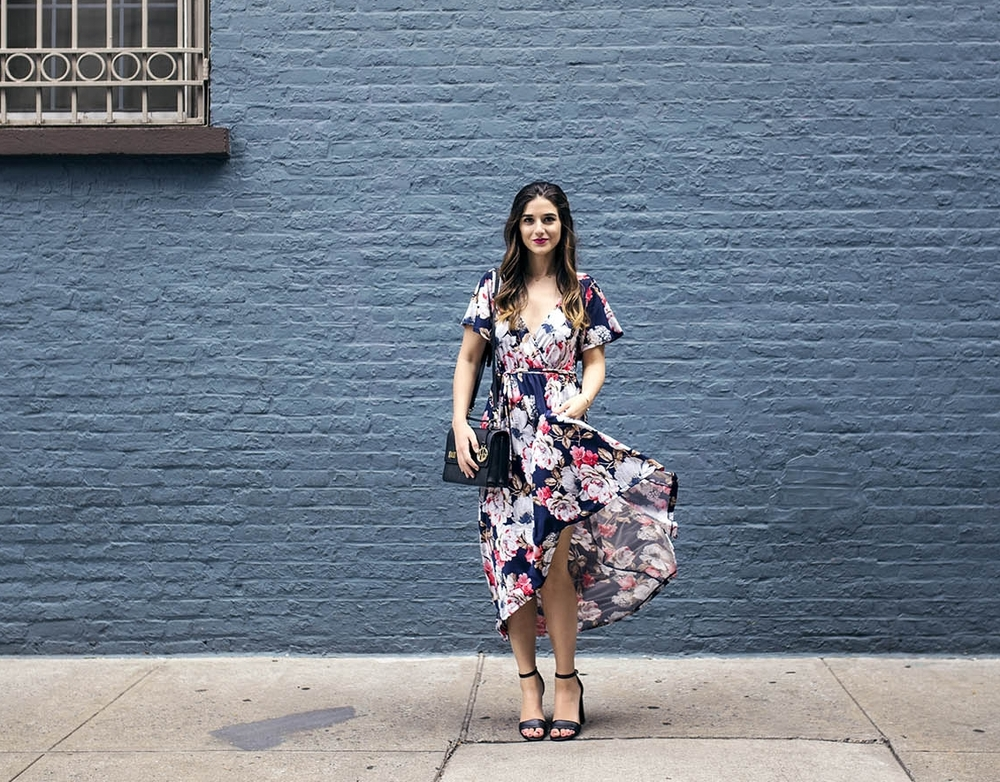 Long Floral Wrap Dress West Kei Louboutins & Love Fashion Blog Esther Santer NYC Street Style Blogger Outfit OOTD Trendy Henri Bendel Amare Jewels Ivanka Trump Black Klover Sandals Floral Chic Dress Woman Red Lip Pink Hair Brown Wavey Purple.jpg