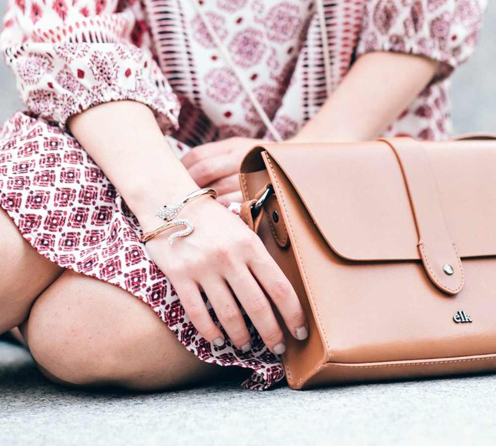 Jeweled Snake Bracelet Shop Design Spark Louboutins & Love Fashion Blog Esther Santer NYC Street Style Blogger Outfit OOTD Trendy Gold Jewelry Dress Print Elk Accessories Tan Bag Girl Women Fad Online Shopping Photoshoot Collaboration Summer Spring.jpg