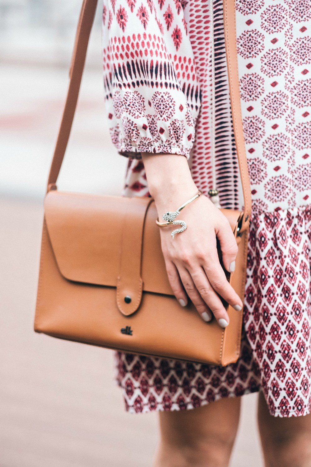 Jeweled Snake Bracelet Shop Design Spark Louboutins & Love Fashion Blog Esther Santer NYC Street Style Blogger Outfit OOTD Trendy Gold Jewelry Dress Print Elk Accessories Tan Bag Girl Women Fad Online Shopping Photoshoot Collaboration Spring Summer.jpg