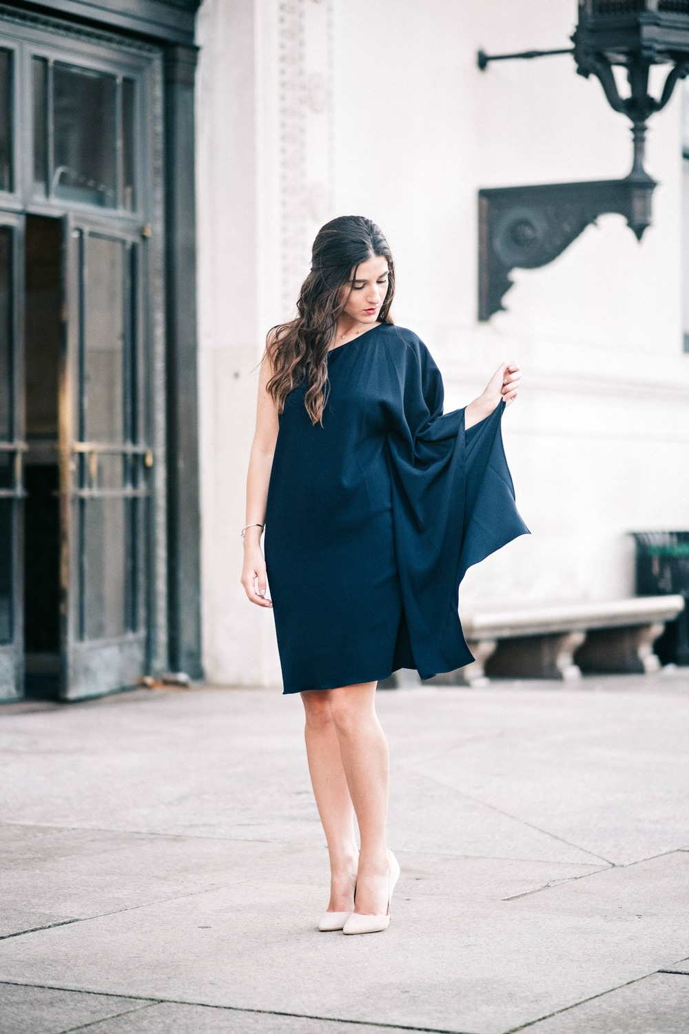 One Shoulder Dress Jay Godgrey Louboutins & Love Fashion Blog Esther Santer NYC Street Style Blogger Outfit OOTD Trendy Girl Women Elegant Fancy Attire Hair Inspo Photoshoot Nude Heels Steve Madden Gold Jewelry Navy Pretty Shopping Beautiful Buy Shoes.jpg