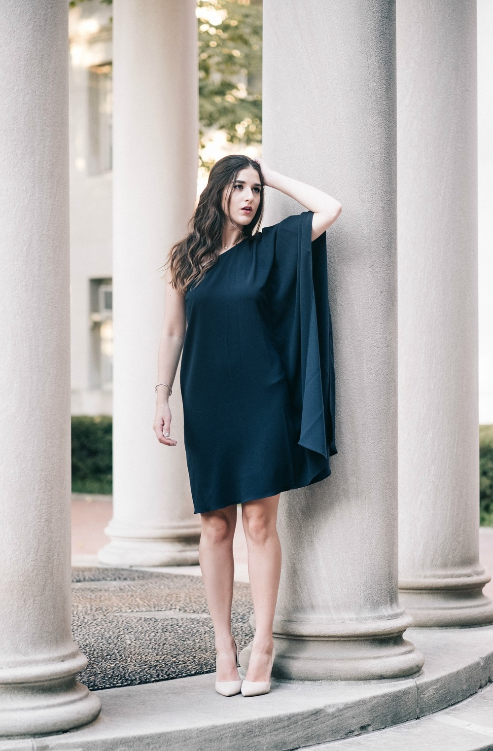 One Shoulder Dress Jay Godgrey Louboutins & Love Fashion Blog Esther Santer NYC Street Style Blogger Outfit OOTD Trendy Girl Women Elegant Fancy Attire Hair Inspo Photoshoot Nude Heels Steve Madden Gold Jewelry Navy Shopping Pretty Beautiful Buy Shoes.jpg