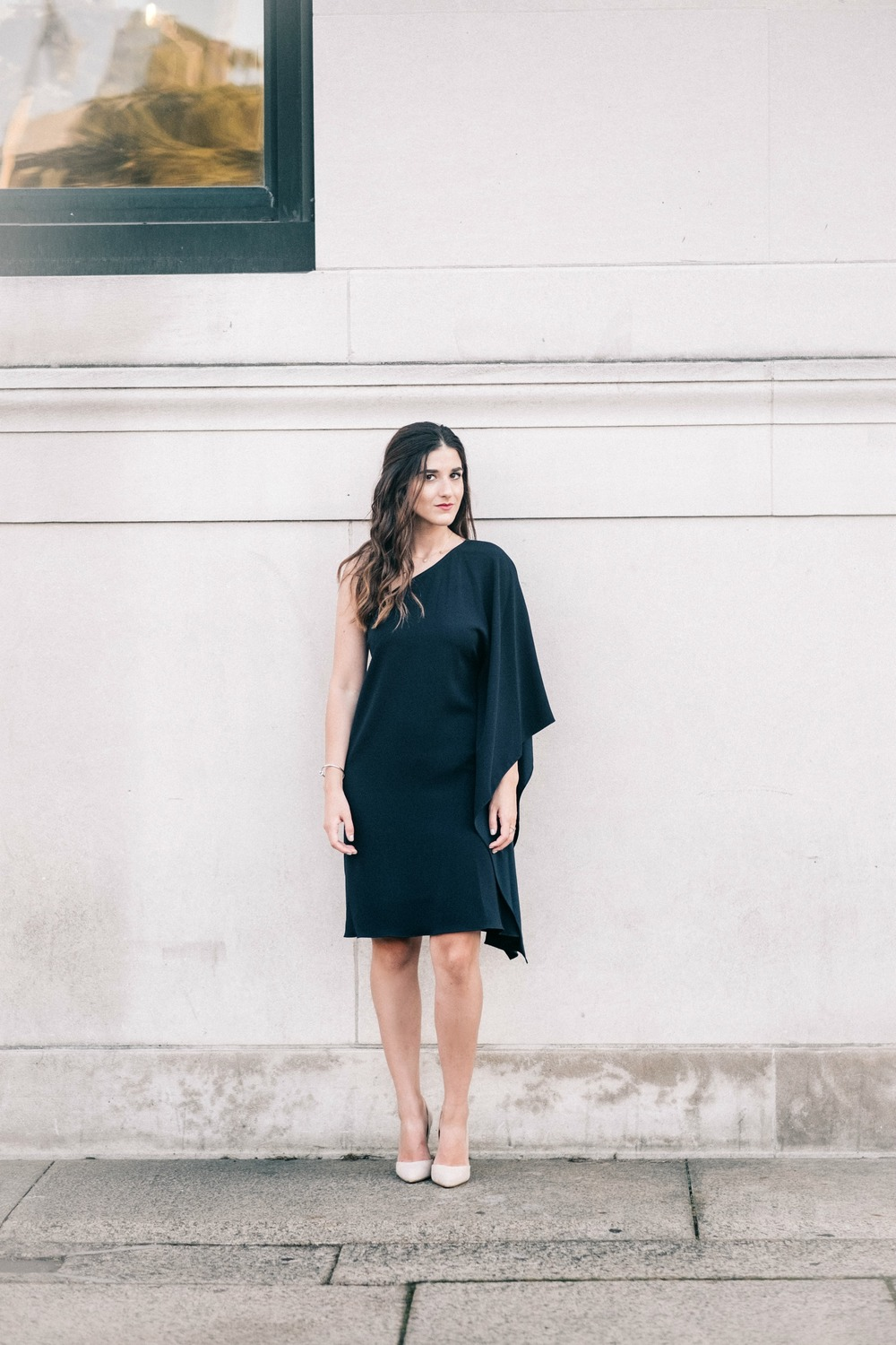 One Shoulder Dress Jay Godgrey Louboutins & Love Fashion Blog Esther Santer NYC Street Style Blogger Outfit OOTD Trendy Girl Women Elegant Fancy Attire Hair Inspo Photoshoot Nude Heels Steve Madden Gold Jewelry Navy Shopping Pretty Beautiful Shoes Buy.jpg