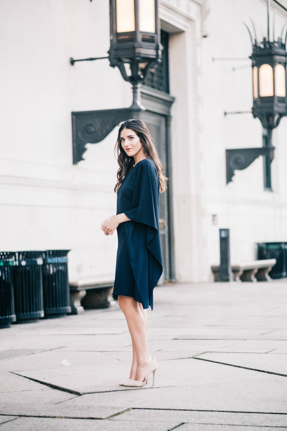 One Shoulder Dress Jay Godgrey Louboutins & Love Fashion Blog Esther Santer NYC Street Style Blogger Outfit OOTD Trendy Girl Women Elegant Fancy Attire Hair Inspo Photoshoot Nude Heels Steve Madden Navy Gold Jewelry Buy Pretty Beautiful Shoes Shopping.jpg