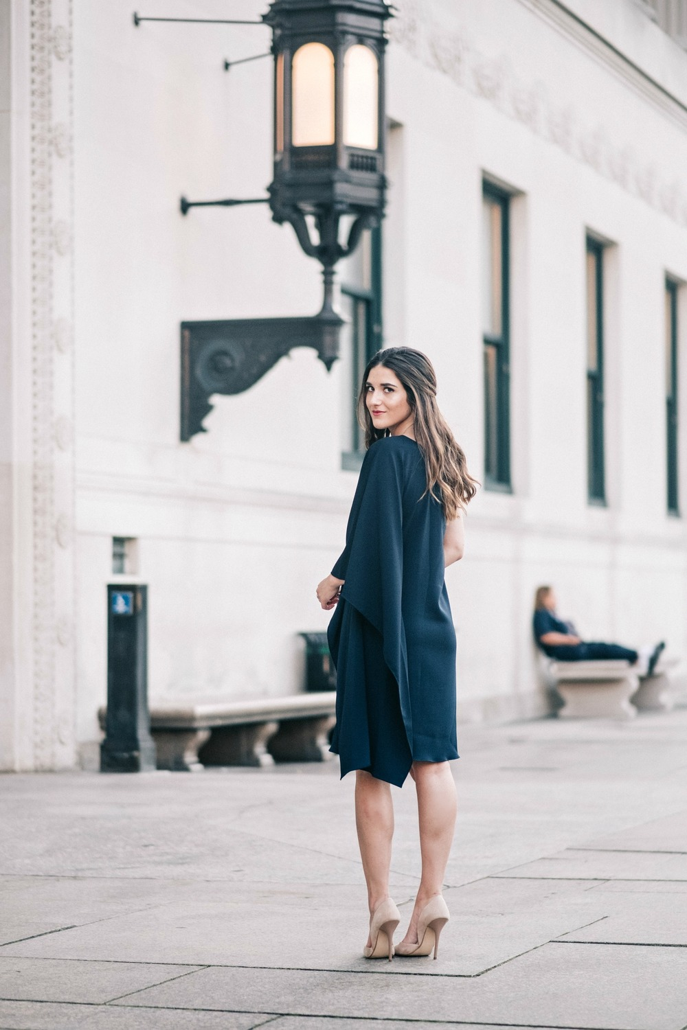 One Shoulder Dress Jay Godgrey Louboutins & Love Fashion Blog Esther Santer NYC Street Style Blogger Outfit OOTD Trendy Girl Women Elegant Fancy Attire Hair Inspo Photoshoot Nude Heels Steve Madden Navy Gold Jewelry Pretty Shopping Buy Shoes Beautiful.jpg