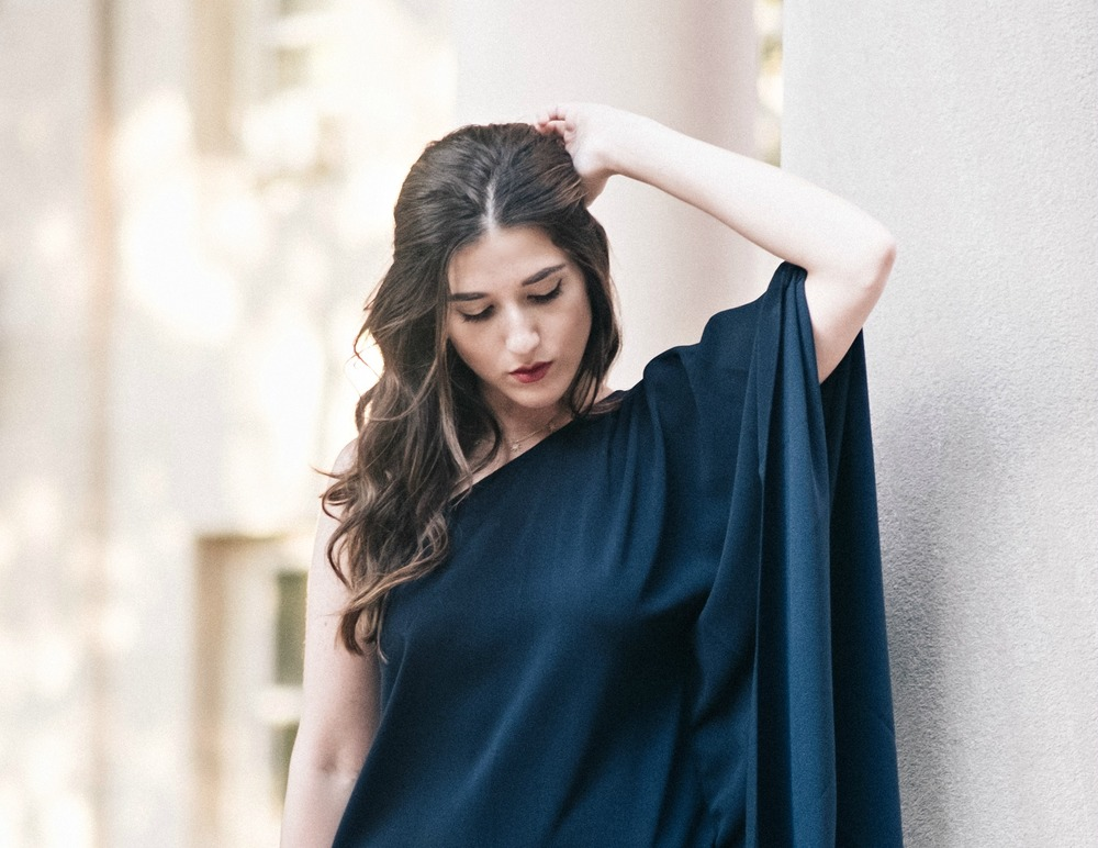 One Shoulder Dress Jay Godgrey Louboutins & Love Fashion Blog Esther Santer NYC Street Style Blogger Outfit OOTD Trendy Girl Women Elegant Fancy Attire Hair Inspo Photoshoot Nude Heels Steve Madden Navy Pretty Shopping Gold Jewelry Buy Beautiful Shoes.jpg