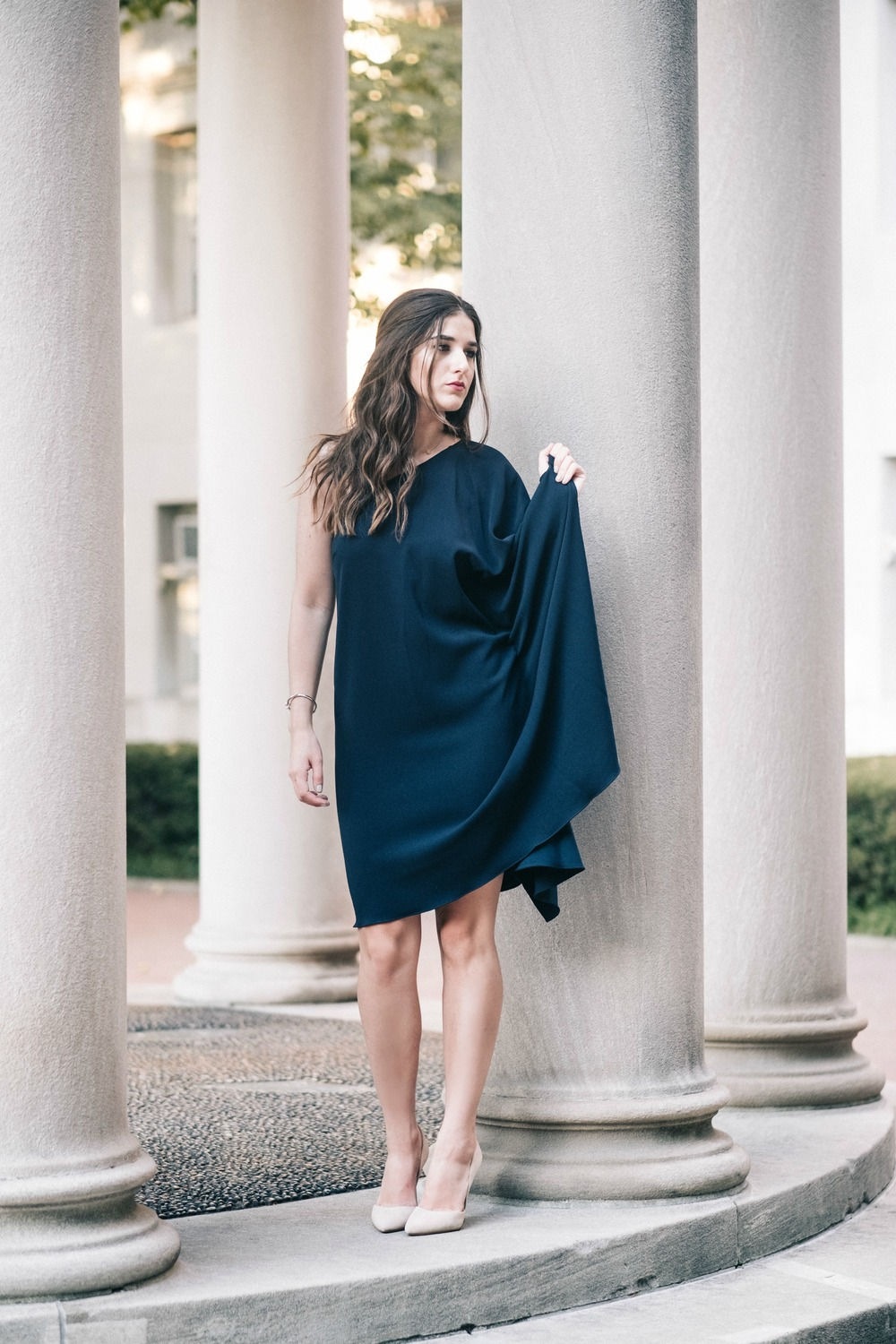 One Shoulder Dress Jay Godgrey Louboutins & Love Fashion Blog Esther Santer NYC Street Style Blogger Outfit OOTD Trendy Girl Women Elegant Fancy Attire Hair Inspo Photoshoot Nude Heels Steve Madden Navy Pretty Shopping Gold Jewelry Buy Shoes Beautiful.jpg