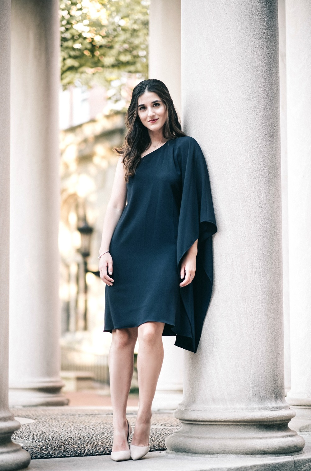 One Shoulder Dress Jay Godgrey Louboutins & Love Fashion Blog Esther Santer NYC Street Style Blogger Outfit OOTD Trendy Girl Women Elegant Fancy Attire Hair Inspo Photoshoot Nude Heels Steve Madden Navy Gold Jewelry Pretty Shopping Beautiful Buy Shoes.jpg