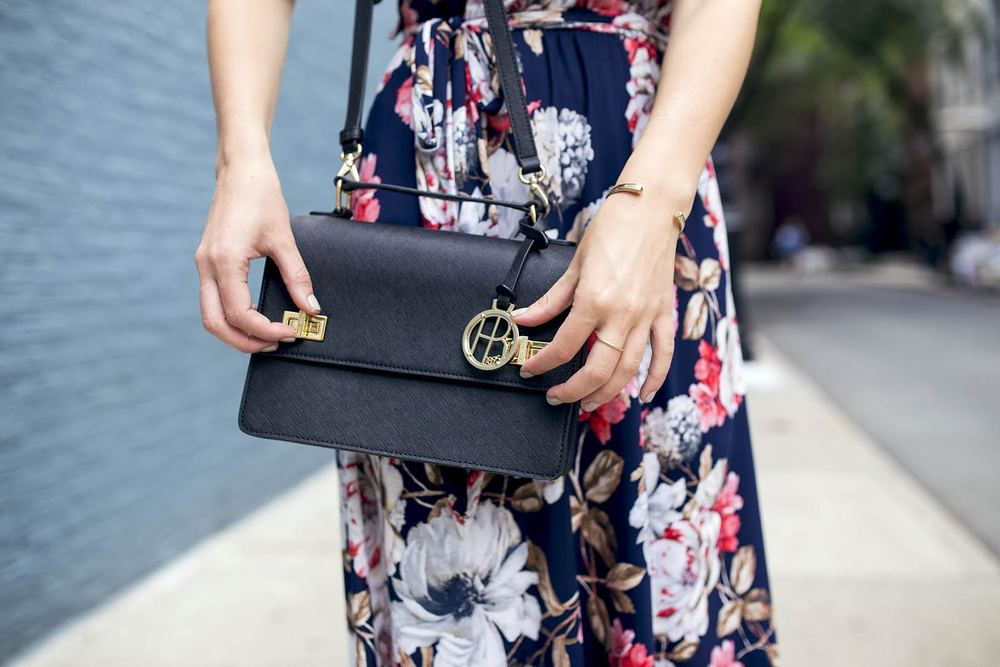 The Perfect Everyday Bag Henri Bendel Louboutins & Love Fashion Blog Esther Santer NYC Street Style Blogger Outfit OOTD Trendy Jay Godfrey Black Cold Shoulder Top Pink Pleather Skirt Zara Ivanka Trump Klover Sandals Heels Girl Purse Women Hair Inspo.jpg