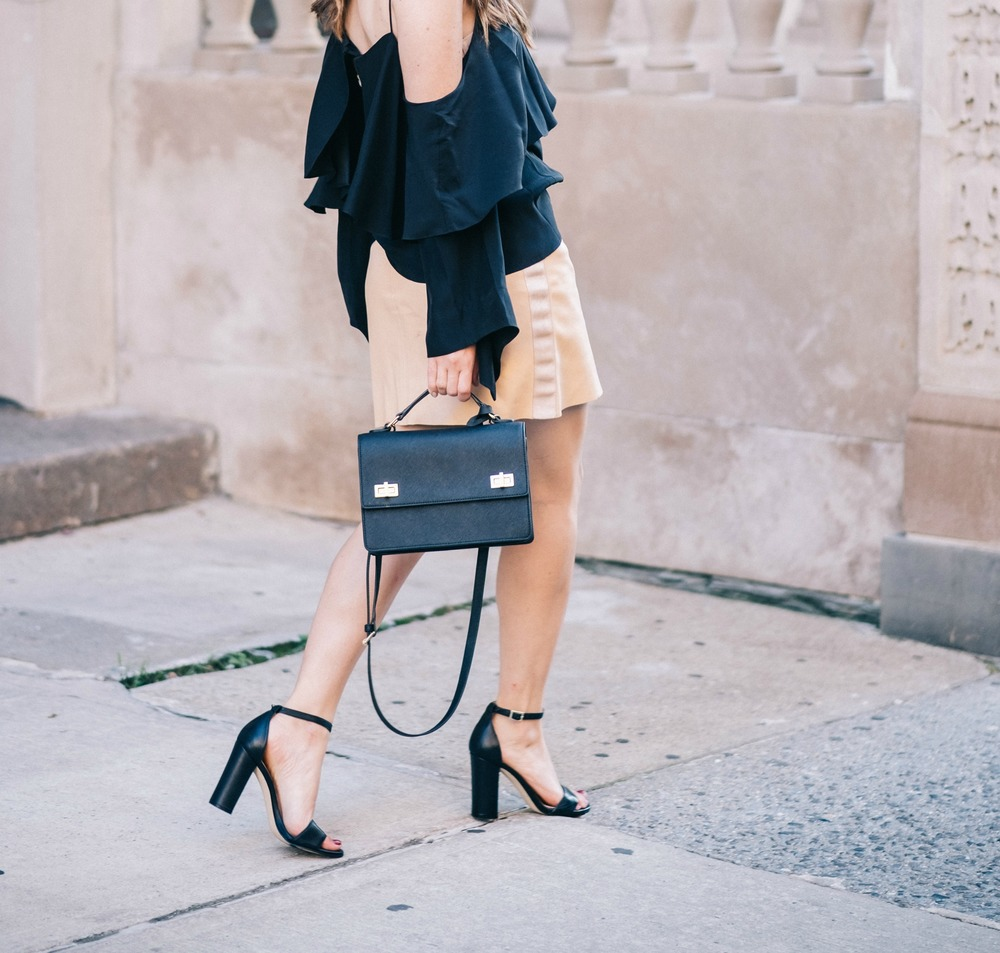 The Perfect Everyday Bag Henri Bendel Louboutins & Love Fashion Blog Esther Santer NYC Street Style Blogger Outfit OOTD Trendy Jay Godfrey Black Cold Shoulder Top Pink Pleather Skirt Zara Ivanka Trump Klover Sandals Heels Purse Girl Women Hair Inspo.jpg
