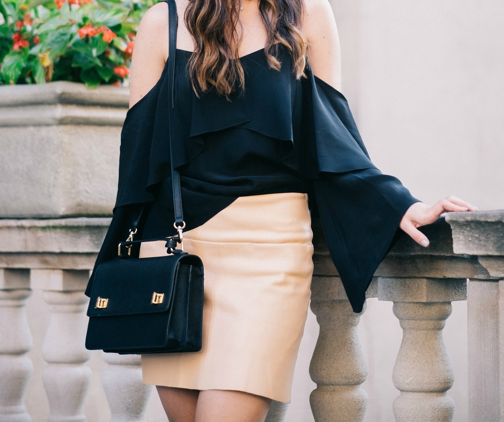 The Perfect Everyday Bag Henri Bendel Louboutins & Love Fashion Blog Esther Santer NYC Street Style Blogger Outfit OOTD Trendy Jay Godfrey Black Cold Shoulder Top Pink Pleather Skirt Zara Ivanka Trump Klover Sandals Heels Purse Women Girl Hair Inspo.jpg