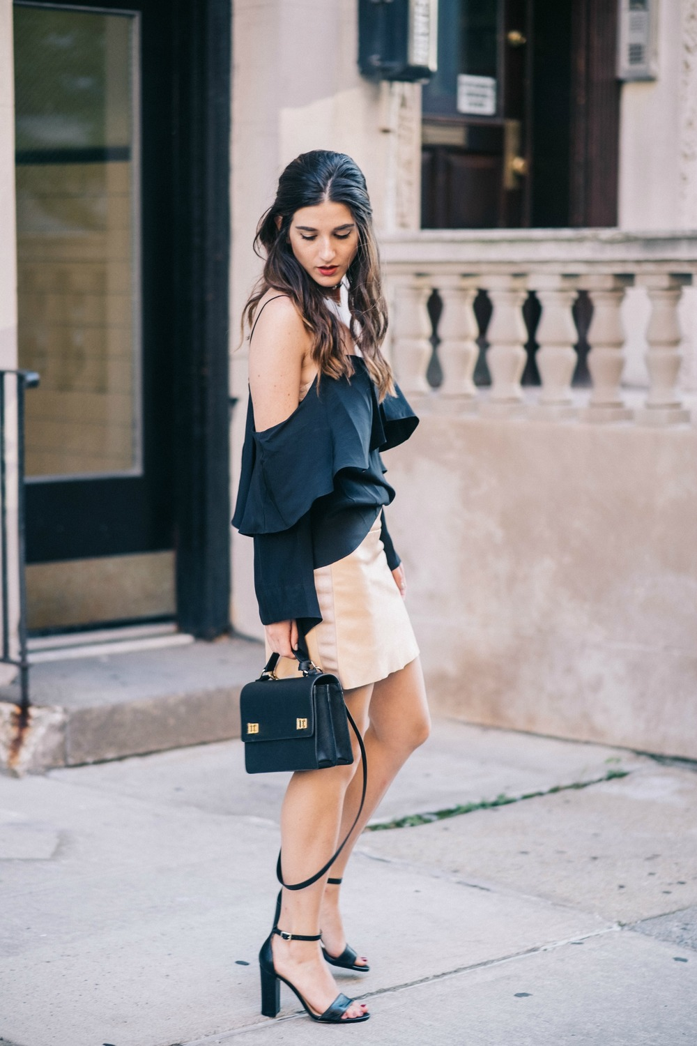 The Perfect Everyday Bag Henri Bendel Louboutins & Love Fashion Blog Esther Santer NYC Street Style Blogger Outfit OOTD Trendy Jay Godfrey Black Cold Shoulder Top Pink Pleather Skirt Zara Ivanka Trump Klover Sandals Heels Girl Women Purse Hair Inspo.jpg