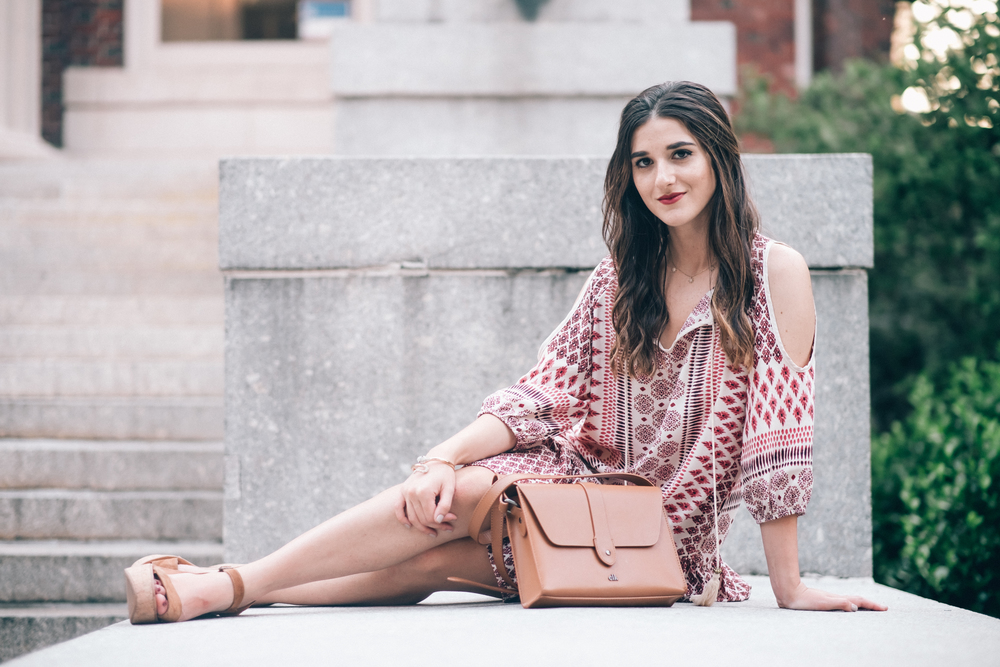 Printed Boho Dress West Kei Louboutins & Love Fashion Blog Esther Santer NYC Street Style Blogger Outfit OOTD Trendy Tassels Pattern Tan Crossbody Bag Elk Accessories Jeweled Snake Bracelet Hair Inspo Gold Summer Dolce Vita Cork Wedges Choker Jewelry.jpg