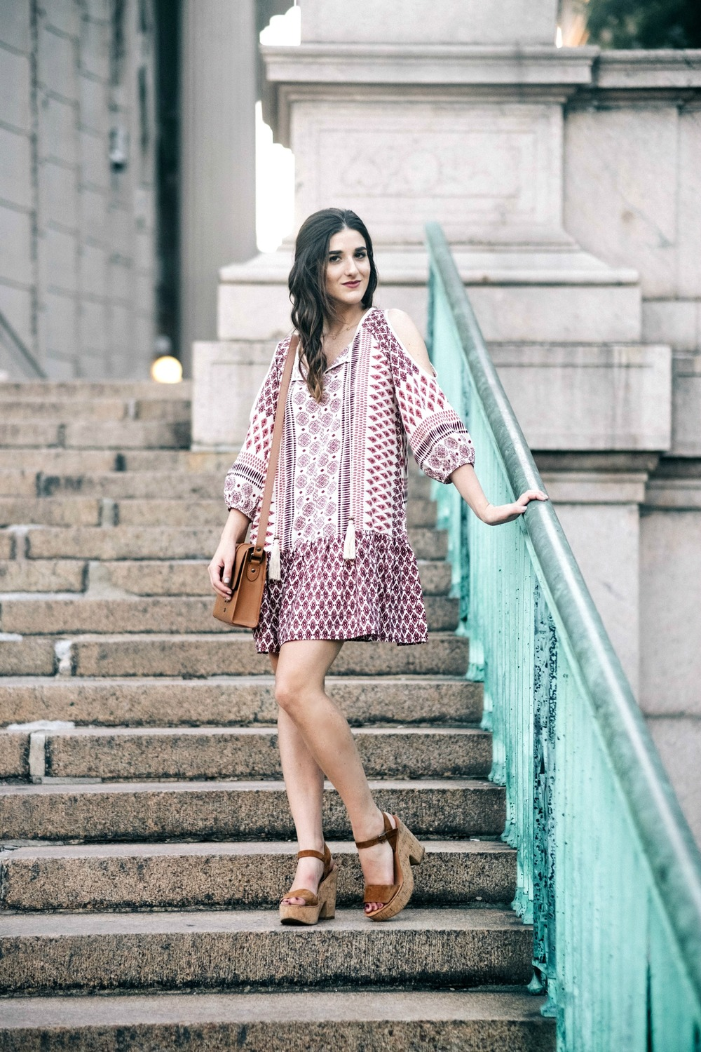 Printed Boho Dress West Kei Louboutins & Love Fashion Blog Esther Santer NYC Street Style Blogger Outfit OOTD Trendy Tassels Pattern Tan Crossbody Bag Elk Accessories Gold Choker Jewelry Jeweled Snake Bracelet Hair Inspo Dolce Vita Cork Wedges Summer.jpg
