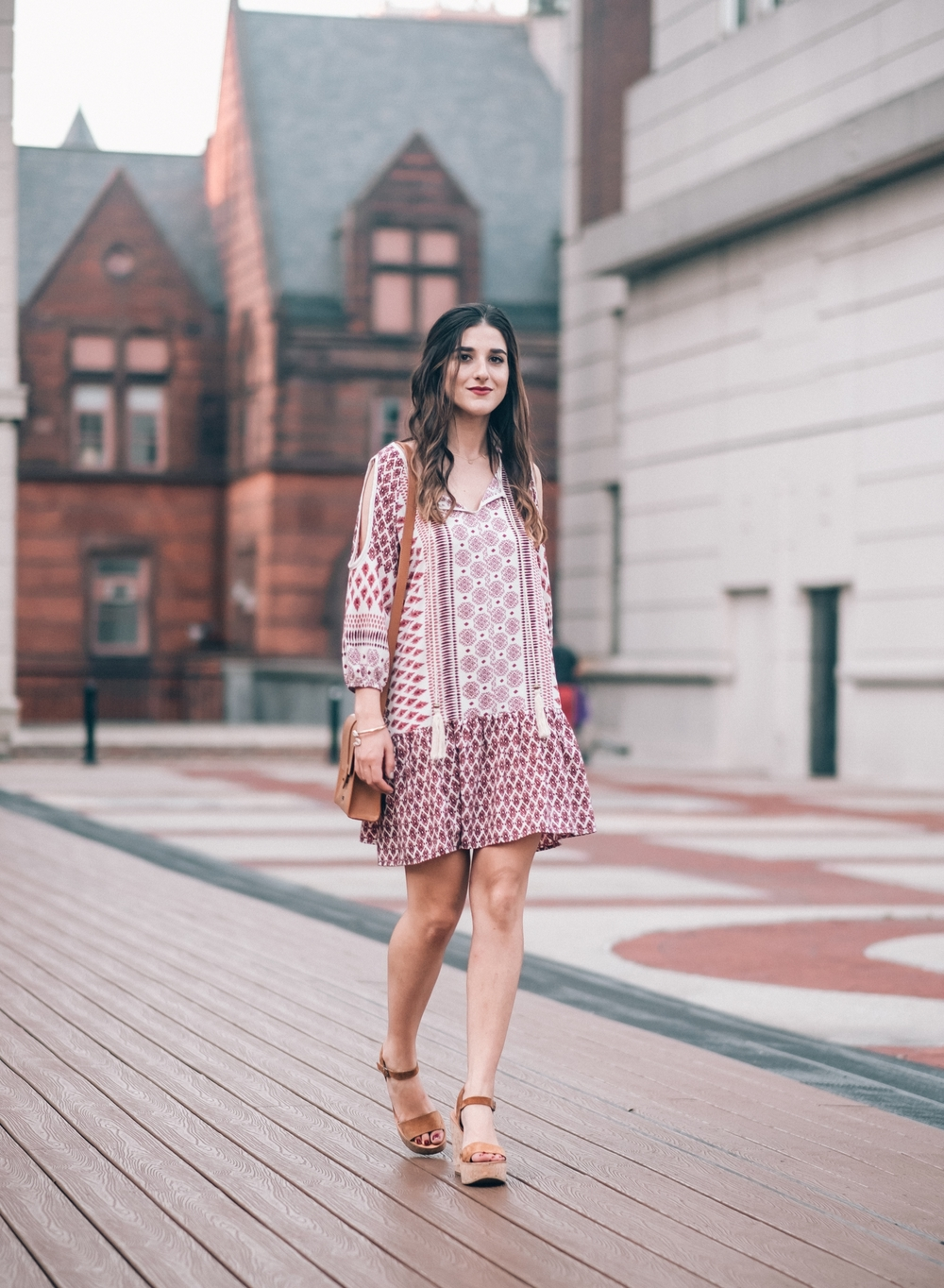 Printed Boho Dress West Kei Louboutins & Love Fashion Blog Esther Santer NYC Street Style Blogger Outfit OOTD Trendy Tassels Pattern Tan Crossbody Bag Elk Accessories Jeweled Snake Bracelet Hair Inspo Gold Summer Choker Dolce Vita Cork Wedges Jewelry.jpg