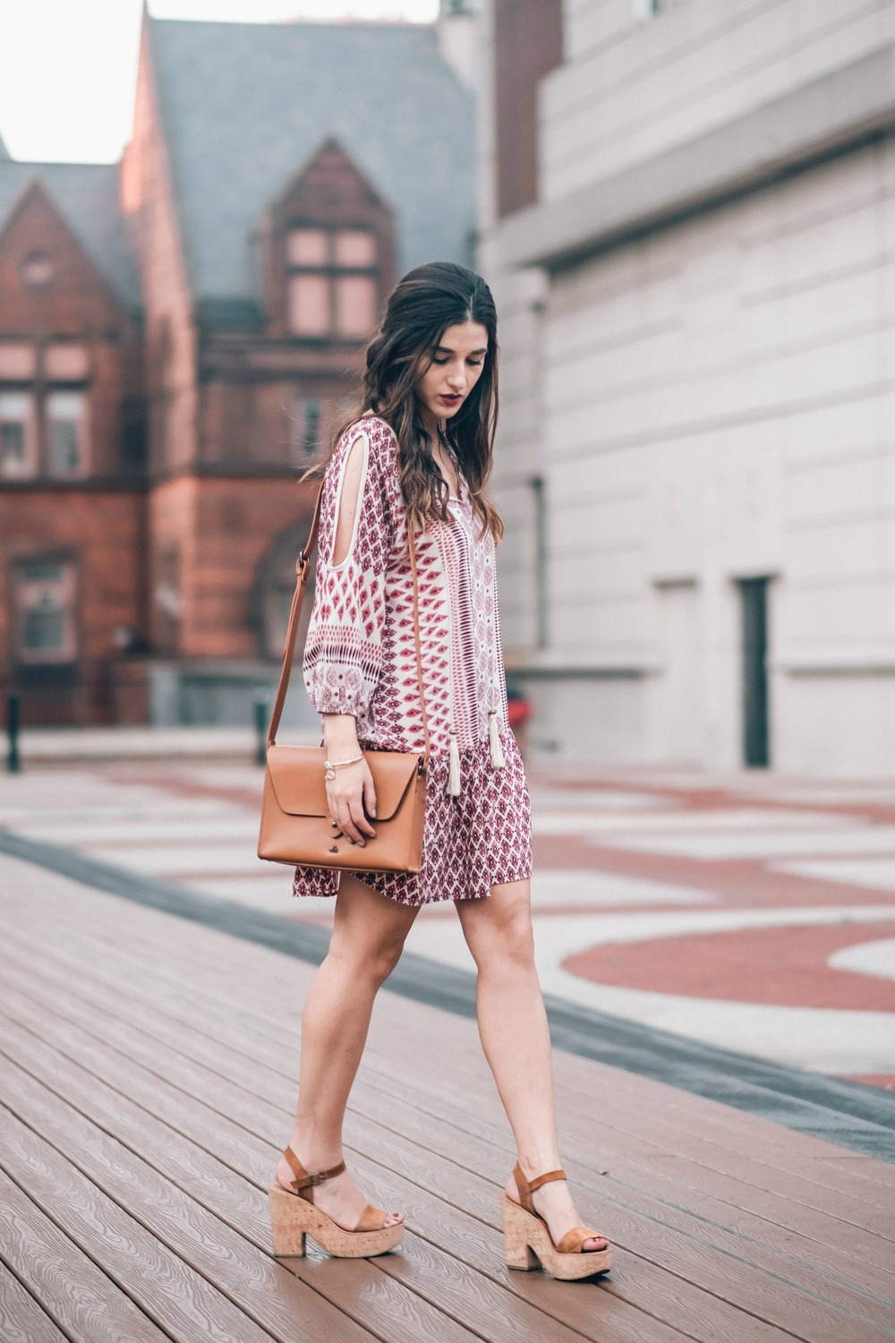 Printed Boho Dress West Kei Louboutins & Love Fashion Blog Esther Santer NYC Street Style Blogger Outfit OOTD Trendy Tassels Pattern Tan Crossbody Bag Elk Accessories Jeweled Snake Bracelet Hair Inspo Gold Dolce Vita Cork Wedges Choker Jewelry Summer.jpg