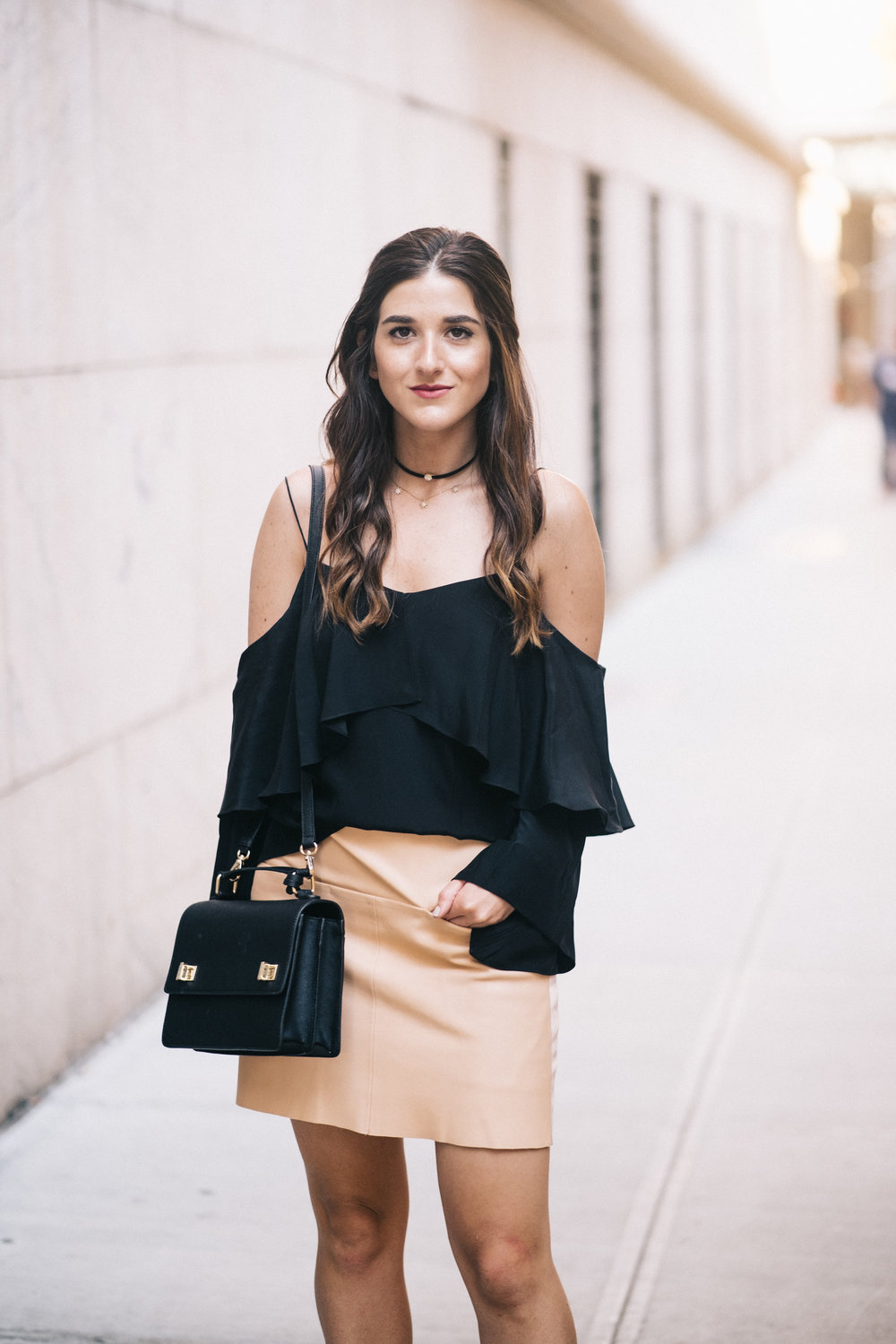 The+Perfect+Everyday+Bag+Henri+Bendel+Louboutins+&+Love+Fashion+Blog+Esther+Santer+NYC+Street+Style+Blogger+Outfit+OOTD+Trendy+Jay+Godfrey+Black+Cold+Shoulder+Top+Pink+Pleather+Skirt+Zara+Ivanka+Trump+Klover+Inspo+Sandals+Heels+Purse+Women+Girl+Hair.jpg