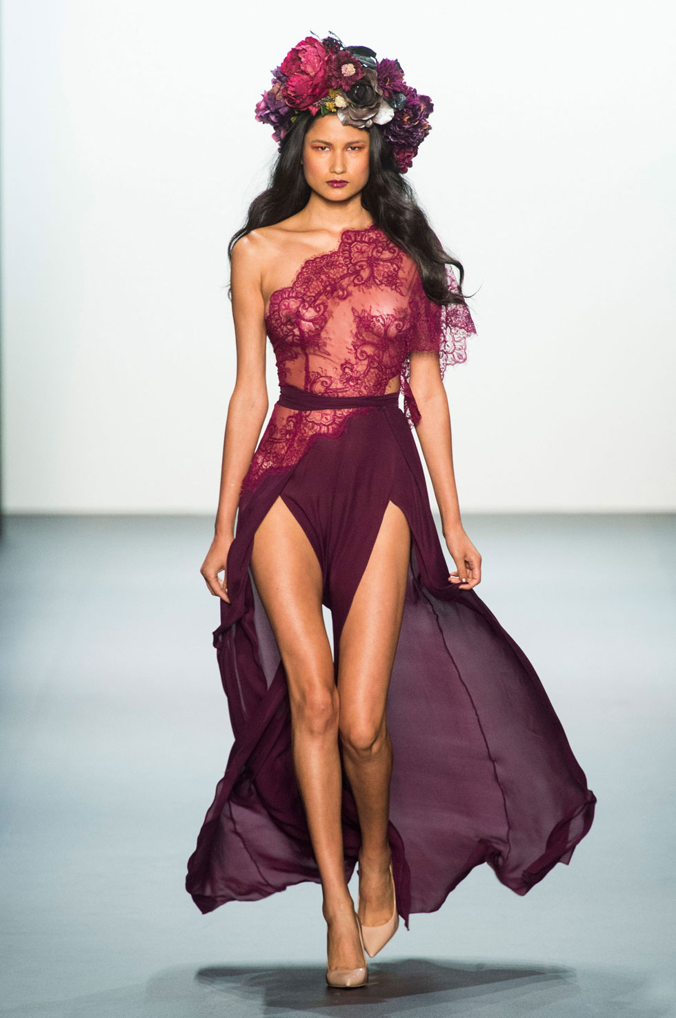 NYFW Michael Costello Fashion Show Spring Summer 2017 Louboutins  & Love Fashion Blog Esther Santer NYC Street Style Purple Loud Fun Floral Headpieces Red Cut Out Pretty Woman Girl Sparkle Train Gown Evening.jpg