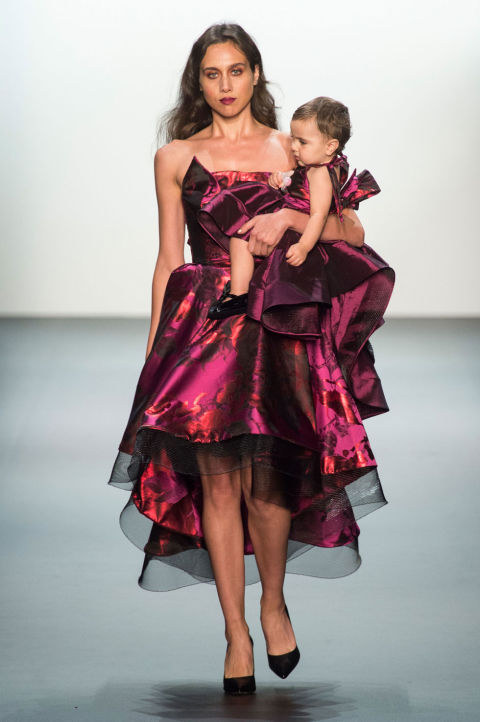 NYFW Michael Costello Fashion Show Spring Summer 2017 Louboutins  & Love Fashion Blog Esther Santer NYC Street Style Purple Loud Fun Floral Headpieces Red Cut Out Pretty Woman Girl Sparkle Gown Train Evening Bab.jpg