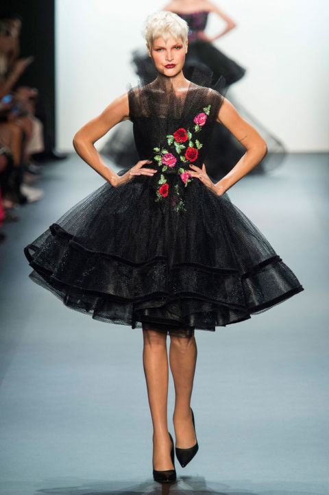 NYFW Michael Costello Fashion Show Spring Summer 2017 Louboutins  & Love Fashion Blog Esther Santer NYC Street Style Purple Loud Fun Floral Headpieces Red Cut Out Pretty Woman Girl Sparkle Train Gown Evening Bab.jpg