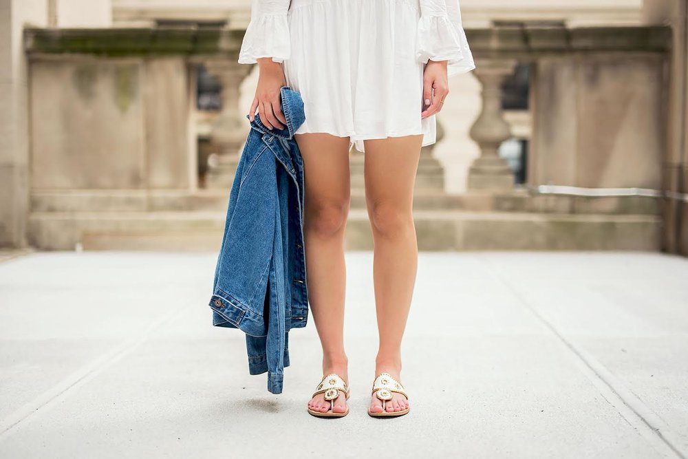 White Romper Jack Rogers Sandals Louboutins & Love Fashion Blog Esther Santer NYC Street Style Blogger Outfit OOTD Trendy Summer Spring Shopping Girls Women Hair Jean Jacket Denim Chokers Leather Shoes Long Sleeves Quality Cute Pretty Beautiful Look.jpg