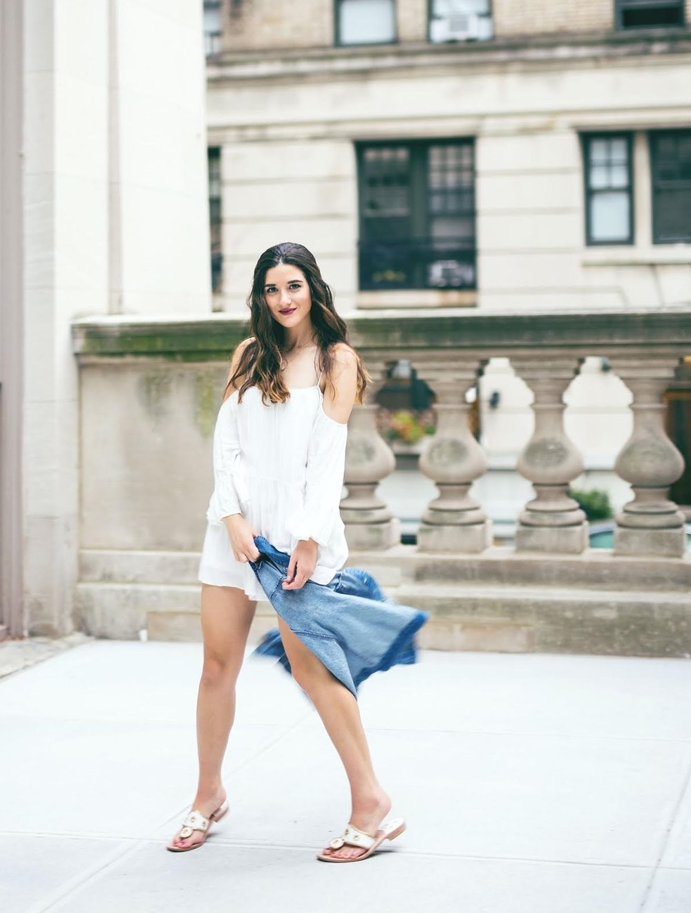 White Romper Jack Rogers Sandals Louboutins & Love Fashion Blog Esther Santer NYC Street Style Blogger Outfit OOTD Trendy Summer Spring Shopping Girls Women Hair Jean Jacket Denim Chokers Leather Shoes Quality Long Sleeves Pretty Cute Beautiful Look.jpg