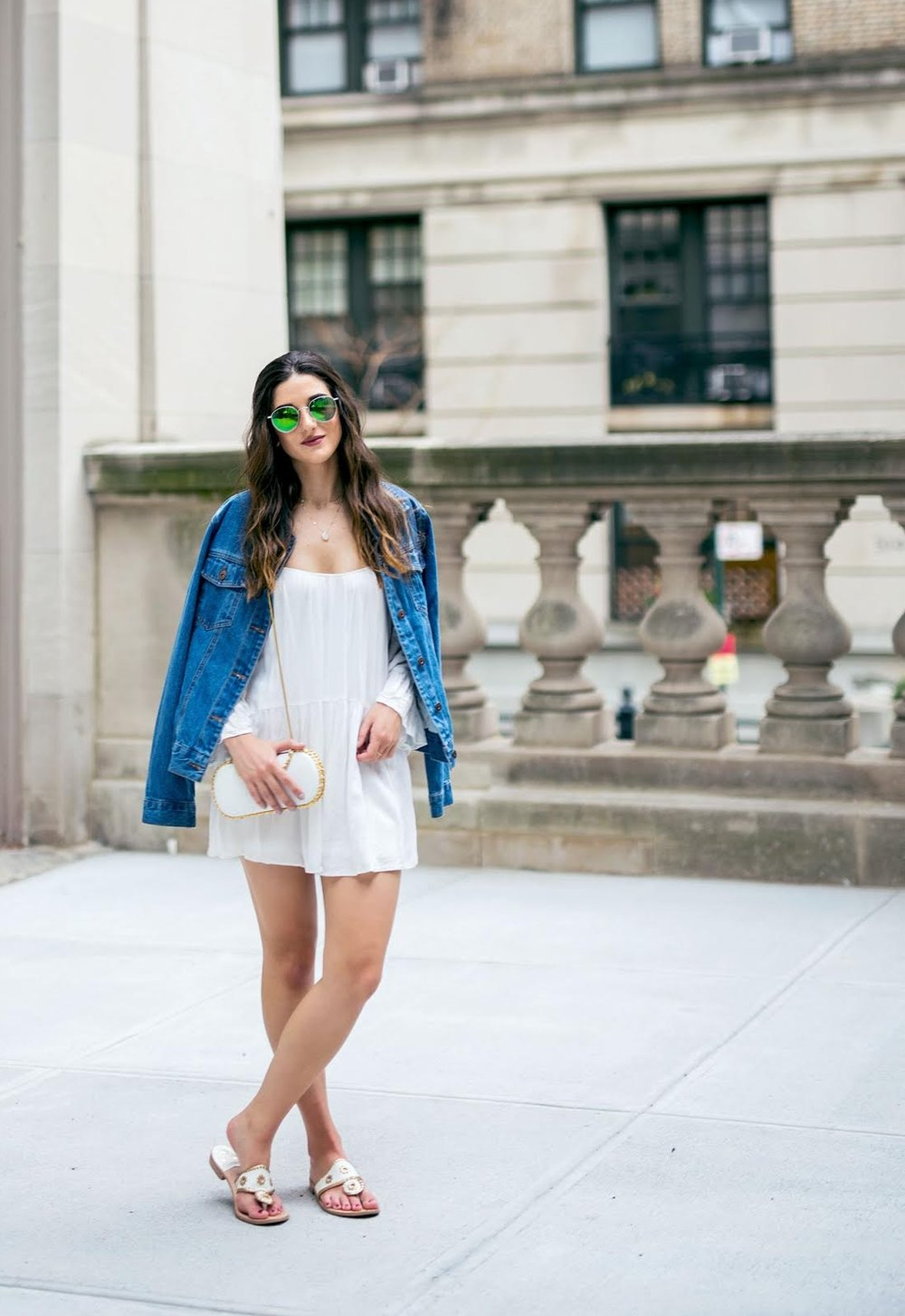 White Romper Jack Rogers Sandals Louboutins & Love Fashion Blog Esther Santer NYC Street Style Blogger Outfit OOTD Trendy Summer Spring Shopping Girls Women Hair Jean Jacket Denim Chokers Leather Shoes Long Sleeves Quality Pretty Cute Beautiful Look.jpg