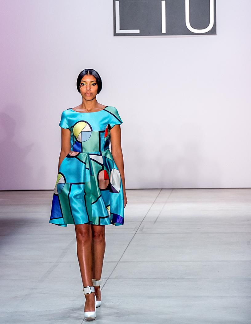 Dan Liu Fashion Show Spring:Summer 2017 Louboutins & Love Fashion Blog Esther Santer Street Style Dress Silk Model Woman Girl Heels Buckle Floral Abstract Cinched Waist White Shoe Black Dress Pretty Chic Simplistic Geometric.jpg