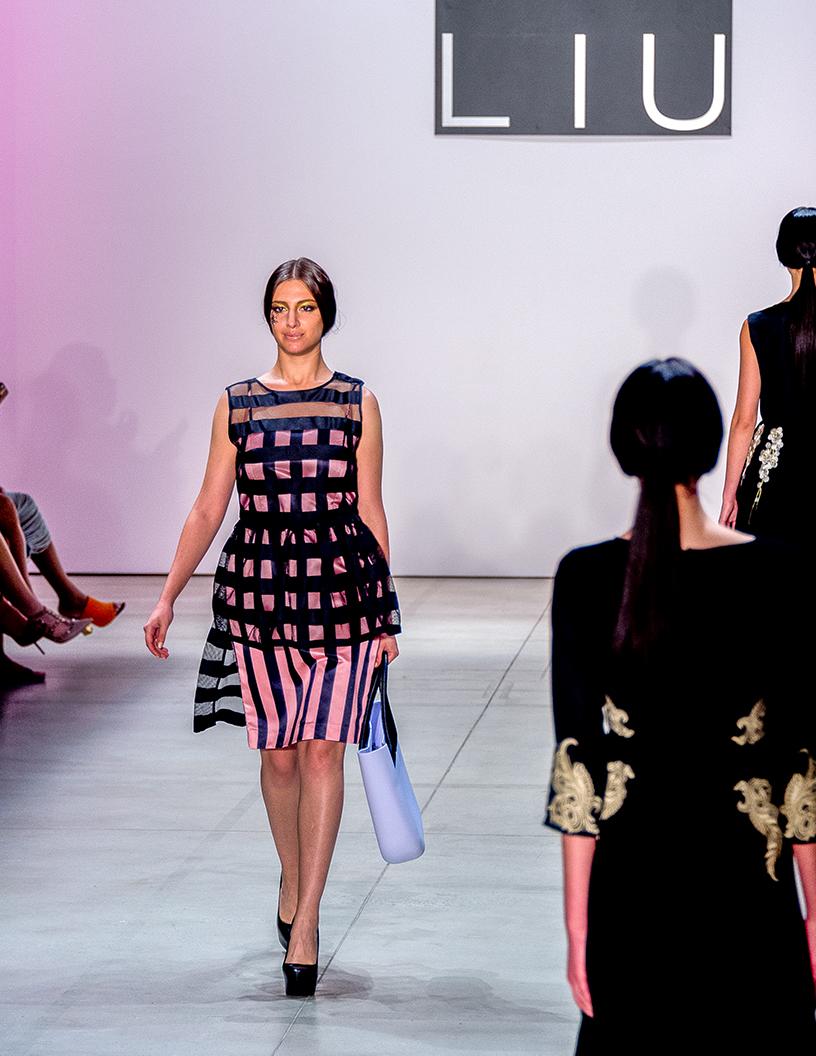 Dan Liu Fashion Show Spring:Summer 2017 Louboutins & Love Fashion Blog Esther Santer Street Style Dress Silk Model Woman Girl Heels Buckle Floral Abstract Cinched Waist White Shoe Black Dress Pretty Chic Simplistic Plaid.jpg