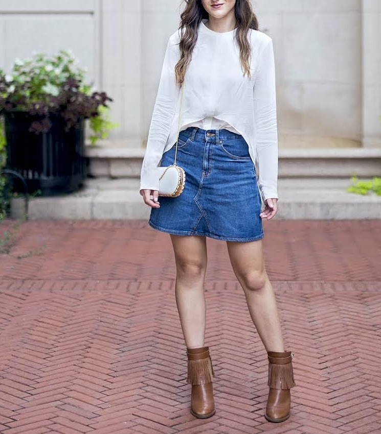 White Silk Top Chelsea and Walker Louboutins & Love Fashion Blog Esther Santer NYC Street Style Blogger Outfit OOTD Trendy Jean Denim Skirt Zara Clutch Bag Erin Dana Gold Chain Ivanka Trump Fringe Booties TeamIvanka Girl Women Transitional Pieces Fall.jpg