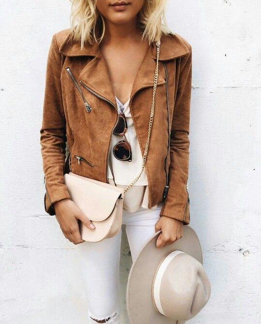 Louboutins & Love Fashion Blog Esther Santer Street Style Chic Fall Looks Cool Leather Brown Neutrals Hat Crossbody Bag Sunglasses Blonde Creame Zipper Women Lady Girl Cute.jpg
