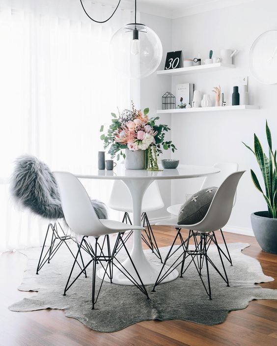 Interiors Louboutins & Love Fashion Blog Esther Santer Chic Rug Fuzzy Chair Metal Flowers Pot Plant Pillow Fur Carpet Wooden Wood Vase Cabinet Teacup Books Wall Hanging Art Awesome Girly Minimal Circle Oval Trinket White Wall.jpg