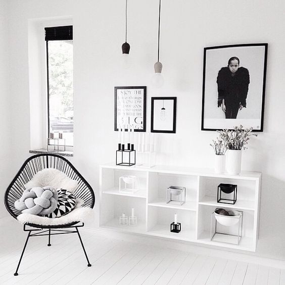 Interiors Louboutins & Love Fashion Blog Esther Santer Chic Rug Fuzzy Chair Metal Flowers Pot Plant Pillow Fur Carpet Wooden Wood Vase Cabinet Teacup Books Wall Hanging Art Awesome Girly Minimal Circle Oval Trinket White Wall Geometric.jpg