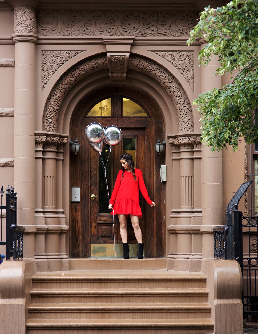 My Birthday Look Red Romper Black Booties Louboutins & Love Fashion Blog NYC Street Style Blogger Esther Santer M4D3 Shoes Trendy Outfit Pretty Beautiful Look What To Wear Shop Silver Photoshoot Balloons Fun City Lifestyle Girl Women Dress Hair Braids.jpg