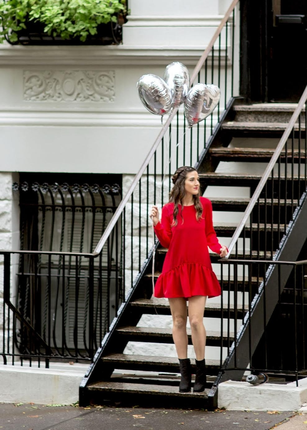 My Birthday Look Red Romper Black Booties Louboutins & Love Fashion Blog NYC Street Style Blogger Esther Santer M4D3 Shoes Trendy Outfit Pretty Beautiful Look What To Wear Shop Silver Photoshoot Balloons Fun City Lifestyle Girl Dress Women Hair Braids.jpg