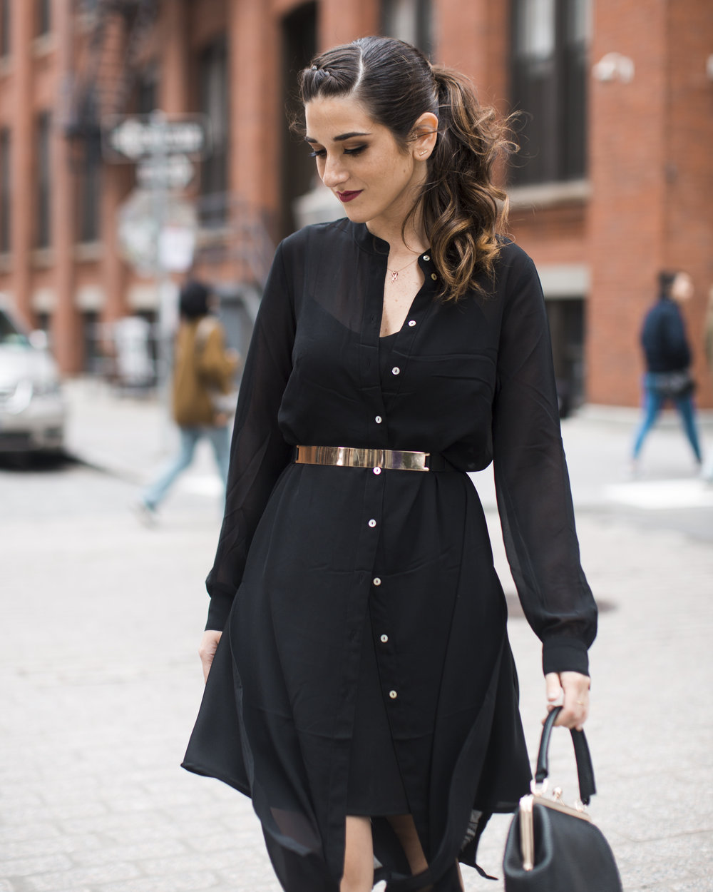 Gold Ribbon Pendant Leibish and Co. Diamonds Louboutins & Love Fashion Blog Esther Santer NYC Street Style Blogger Monochrome Mules Necklace Braid Hair Girl Women Shirt Dress All Black Red Lipstick Trendy Outfit Jewelry Inspo OOTD Wear Bag Inspo Shop.jpg