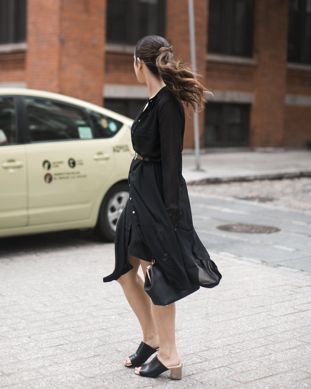 Gold Ribbon Pendant Leibish and Co. Diamonds Louboutins & Love Fashion Blog Esther Santer NYC Street Style Blogger Monochrome Mules Necklace Braid Hair Girl Women Shirt Dress All Black Trendy Outfit Jewelry Red Lipstick OOTD Inspo Wear Bag Shop Inspo.jpg