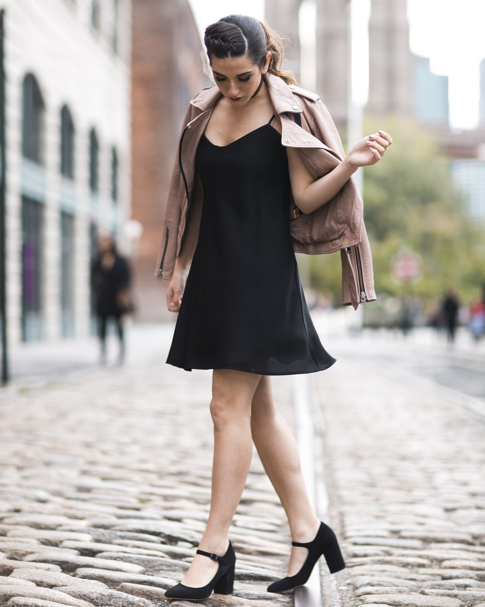 Pink Leather Jacket Erin Dana Choker Louboutins & Love Fashion Blog Esther Santer NYC Street Style Blogger Outfit OOTD Trendy All Saints Hair Inspo Fall Look Via Spiga Black Shoes Bloomingdales Slip Dress Girl Model Women Dumbo Pretty Shop Accessories.jpg