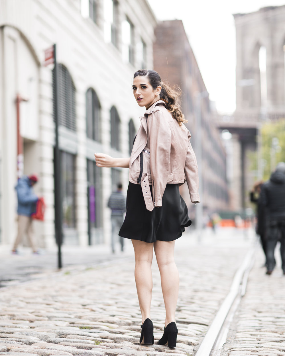 Pink Leather Jacket Erin Dana Choker Louboutins & Love Fashion Blog Esther Santer NYC Street Style Blogger Outfit OOTD Trendy All Saints Hair Inspo Fall Look Via Spiga Black Shoes Bloomingdales Slip Dress Girl Women Accessories Model Dumbo Pretty Shop.jpg