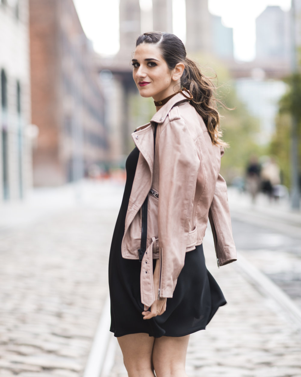Pink Leather Jacket Erin Dana Choker Louboutins & Love Fashion Blog Esther Santer NYC Street Style Blogger Outfit OOTD Trendy All Saints Hair Inspo Fall Look Via Spiga Black Shoes Bloomingdales Slip Dress Girl Women Model Dumbo Pretty Shop Accessories.jpg