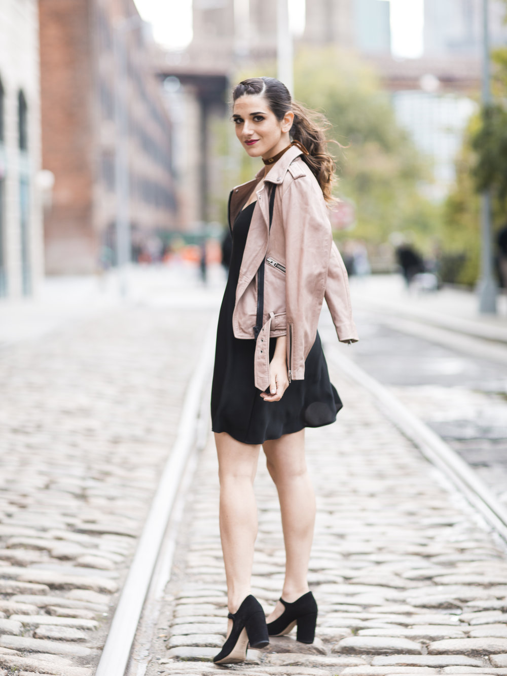 Pink Leather Jacket Erin Dana Choker Louboutins & Love Fashion Blog Esther Santer NYC Street Style Blogger Outfit OOTD Trendy All Saints Hair Inspo Fall Look Via Spiga Black Shoes Bloomingdales Slip Dress Girl Women Model Pretty Dumbo Shop Accessories.jpg