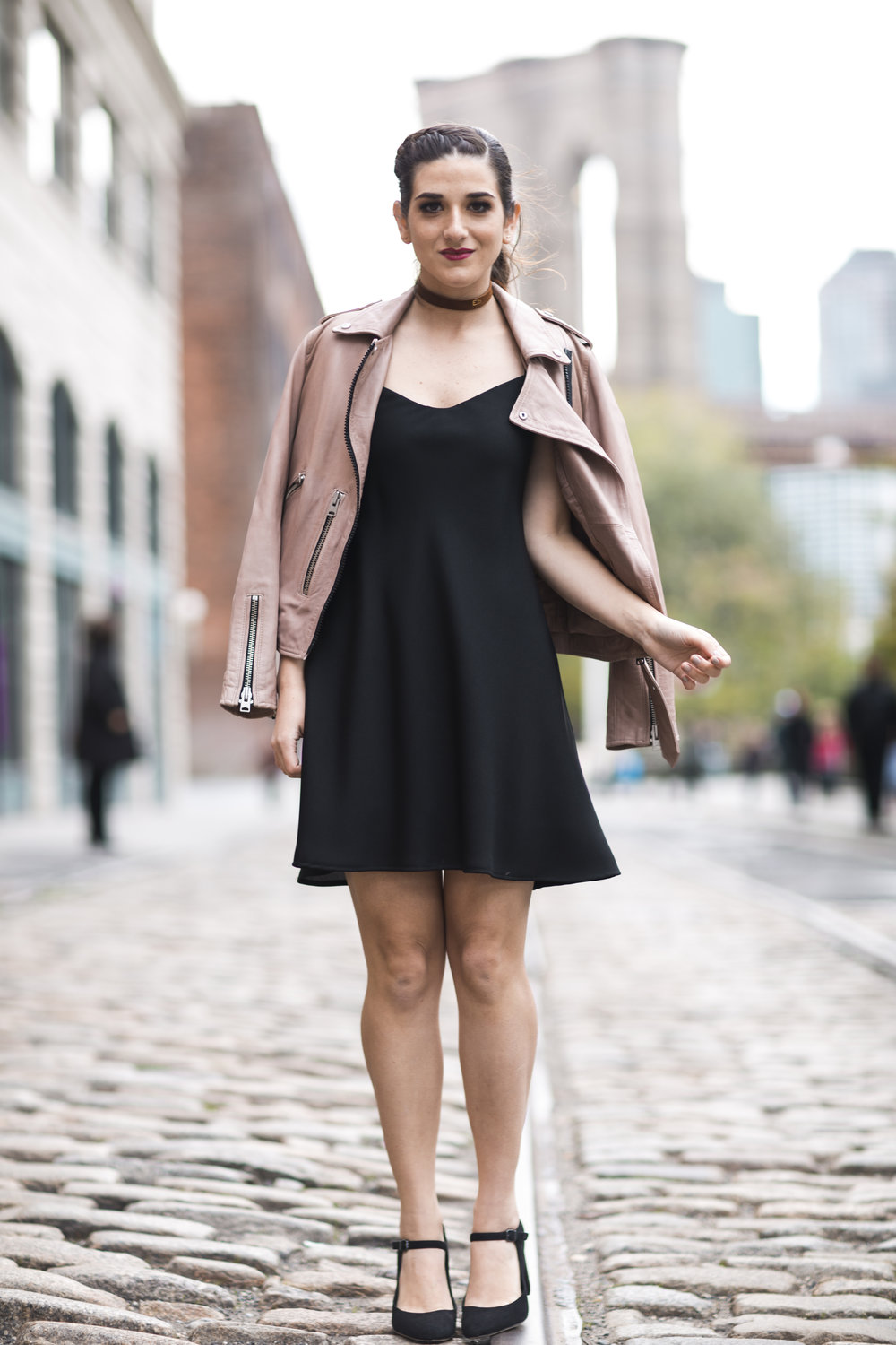 Pink Leather Jacket Erin Dana Choker Louboutins & Love Fashion Blog Esther Santer NYC Street Style Blogger Outfit OOTD Trendy All Saints Hair Inspo Fall Look Via Spiga Black Shoes Bloomingdales Slip Dress Model Girl Women Pretty Dumbo Shop Accessories.jpg