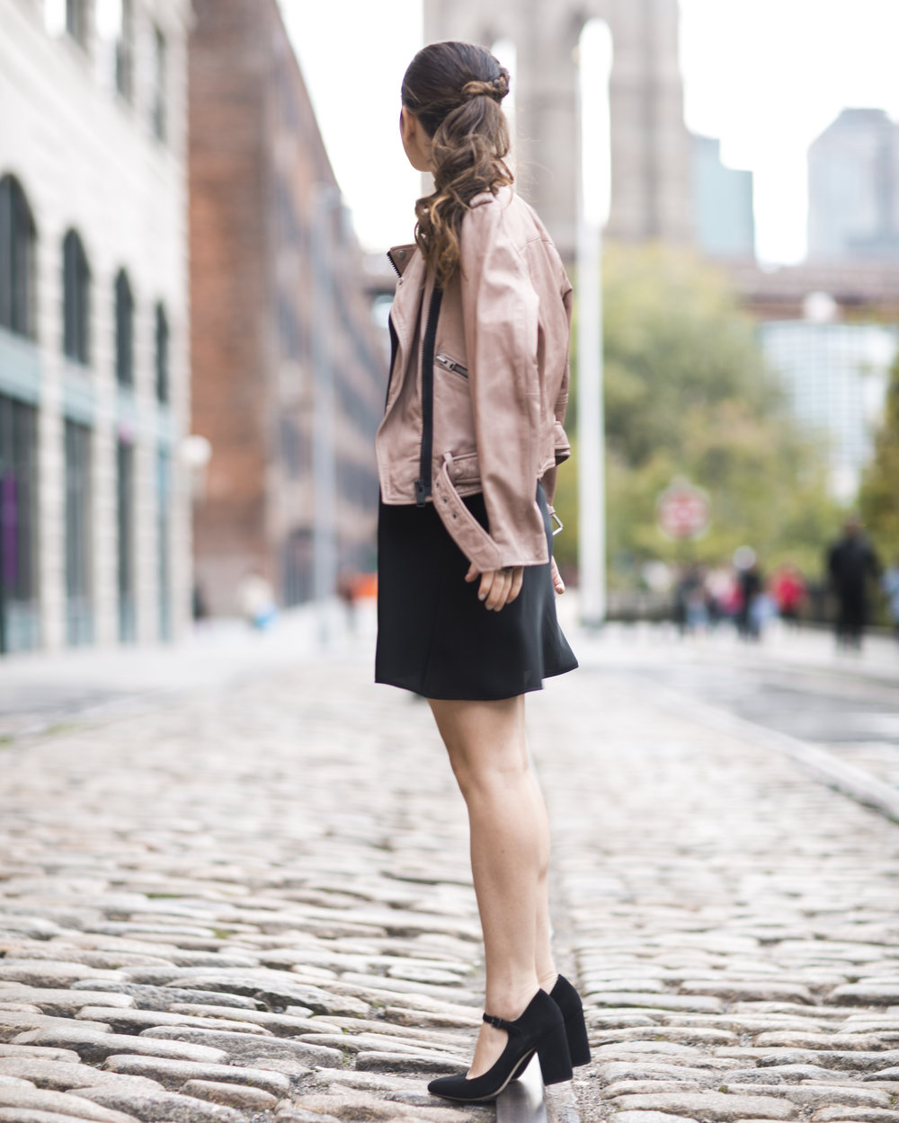 Pink Leather Jacket Erin Dana Choker Louboutins & Love Fashion Blog Esther Santer NYC Street Style Blogger Outfit OOTD Trendy All Saints Hair Inspo Fall Look Via Spiga Black Shoes Bloomingdales Slip Dress Pretty Model Women Girl Dumbo Shop Accessories.jpg