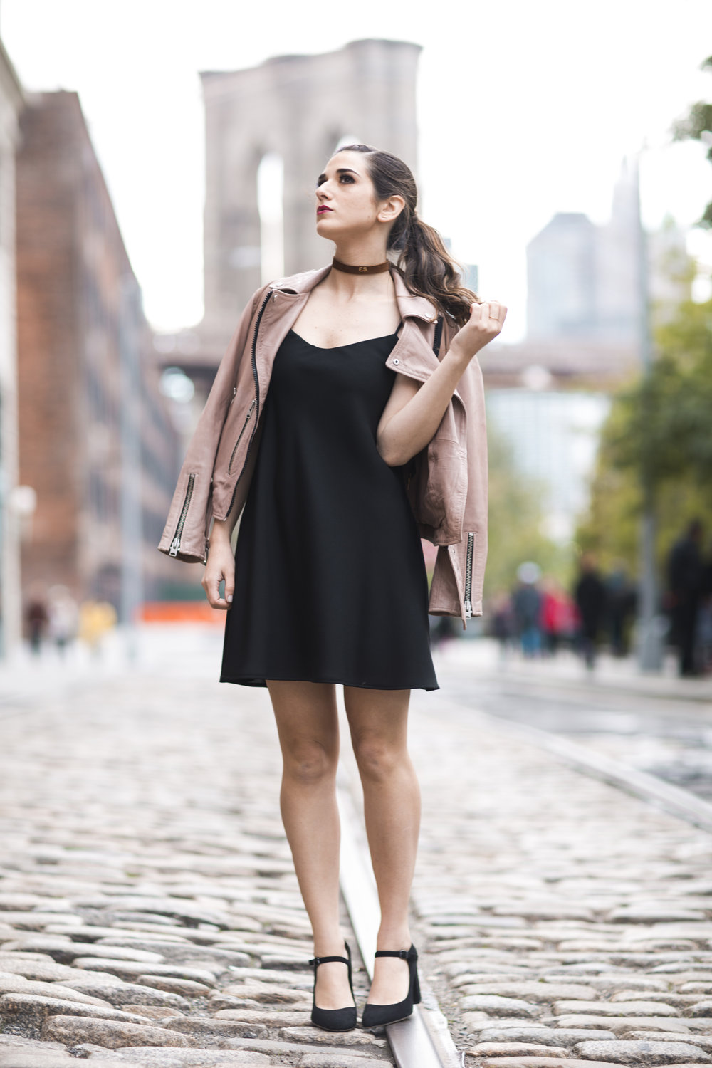 Pink Leather Jacket Erin Dana Choker Louboutins & Love Fashion Blog Esther Santer NYC Street Style Blogger Outfit OOTD Trendy All Saints Hair Inspo Fall Look Via Spiga Black Shoes Bloomingdales Slip Dress Pretty Model Women Girl Shop Dumbo Accessories.jpg