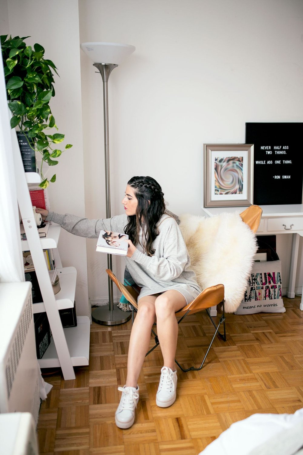 Sweatshirt Dress White Sneakers Louboutins & Love Fashion Blog Esther Santer NYC Street Style Blogger Outfit OOTD Trendy Grey Comftorable Cozy Sweater M4D3 Shoes Pretty Lounging New York City Zara Butterfly Chair Urban Outfitters Hair RPZL Braid Girl.jpg