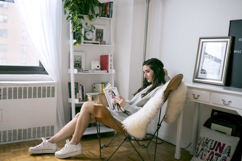 Sweatshirt Dress White Sneakers Louboutins & Love Fashion Blog Esther Santer NYC Street Style Blogger Outfit OOTD Trendy Grey Comftorable Cozy Sweater M4D3 Shoes Pretty Lounging New York City Zara Urban Outfitters Butterfly Chair Girl Hair RPZL Braid.jpg