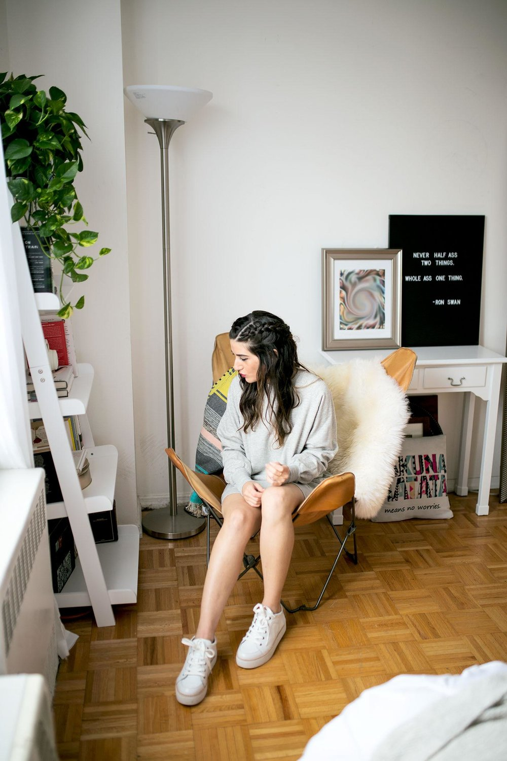 Sweatshirt Dress White Sneakers Louboutins & Love Fashion Blog Esther Santer NYC Street Style Blogger Outfit OOTD Trendy Grey Comftorable Cozy Sweater M4D3 Shoes Pretty Lounging New York City Zara Urban Outfitters Butterfly Chair Hair Girl RPZL Braid.jpg