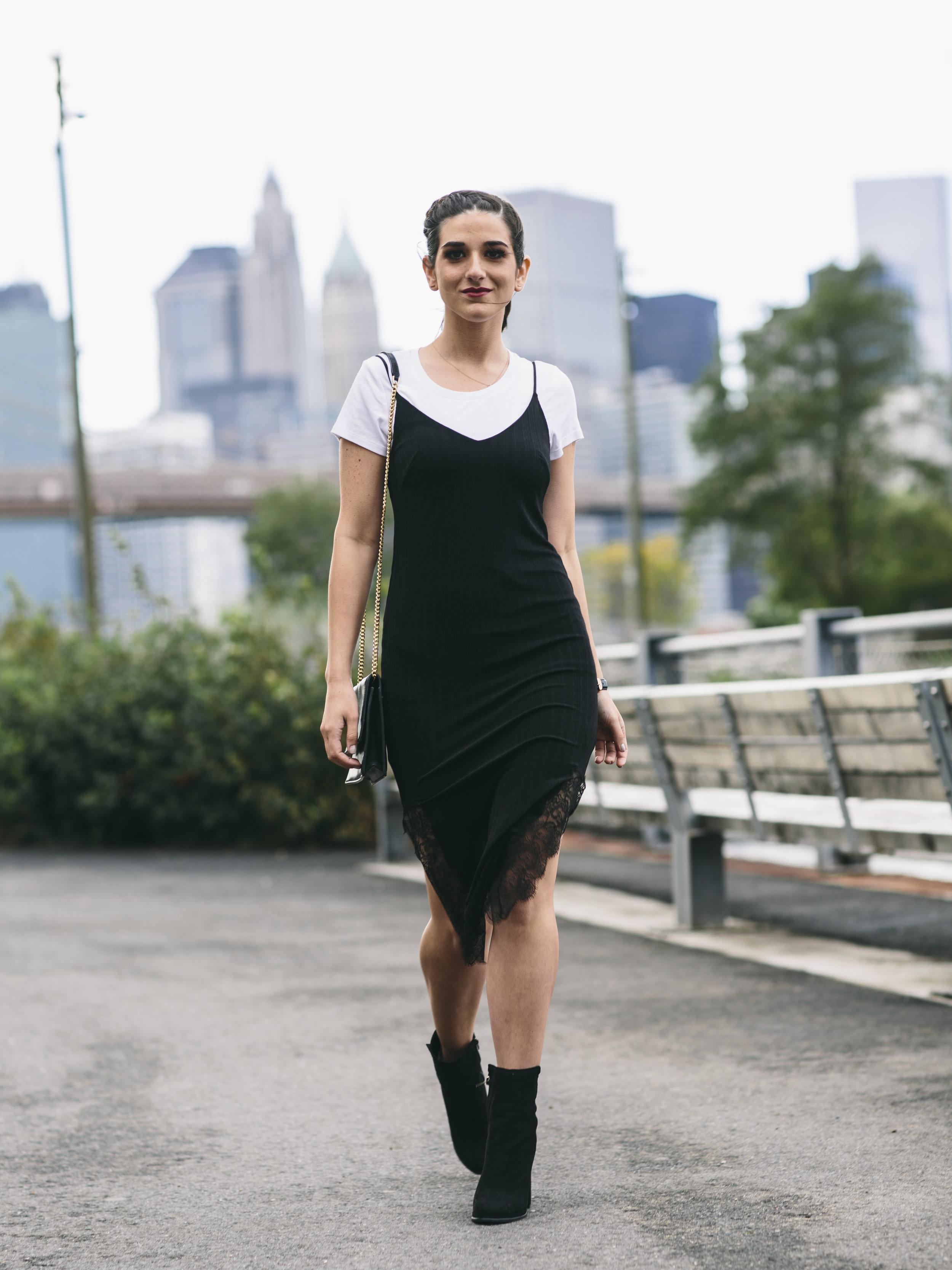 fb034194b3 Black Lace Slip Dress Over White Tee Louboutins   Love Fashion Blog Esther  Santer NYC Street