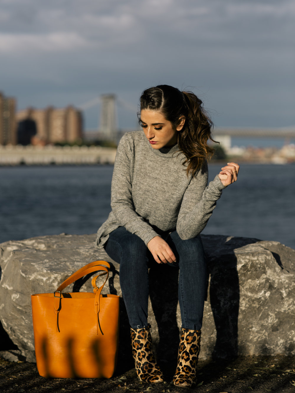 Long Grey Sweater Leopard Booties Louboutins & Love Fashion Blog Esther Santer NYC Street Style Blogger Outfit OOTD Trendy Hair Girl Women Leather Bag Jeans Denim Pretty Photoshoot Dumbo Brooklyn Shoes Fall Winter Inspo Wear Shop Beautiful Turtleneck.jpg